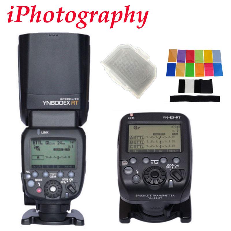 Prix pour YONGNUO YN600EX-RT II 2.4G Sans Fil HSS Maître Flash pour Canon caméra comme 600EX-RT II + YN-E3-RT TTL déclencheur flash + diffuseur