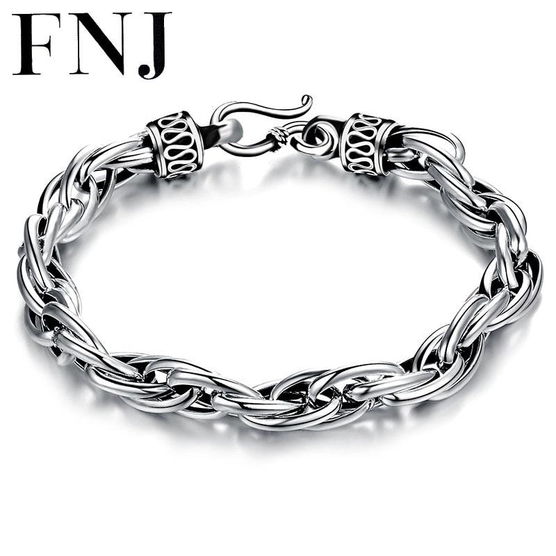FNJ 925 Bracelet à maillons en argent nouvelle mode 6mm 8mm bonne chance Original S925 Thai argent bracelets pour femme hommes amoureux bijoux