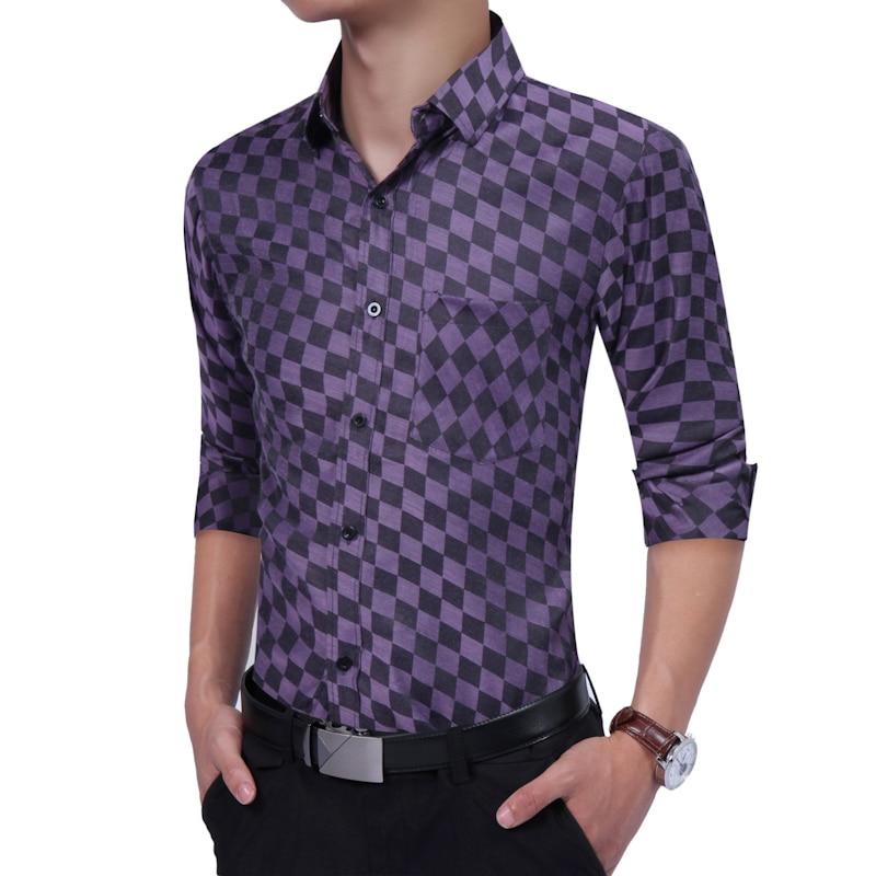 2018 Hot Sale Autumn Smart Casual Long Sleeve Shirts Mens shirt Plaid 100% Cotton Man Social Dress Male Plus Size Slim Fit Men