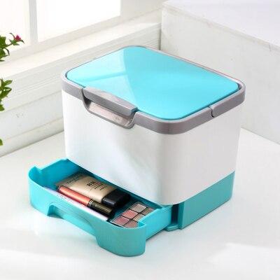 Multifonctionnel Portable cas cosmétique avec miroir boîte de rangement de Bureau 25*20*20 CM dans Boîtes De Rangement de Maison & Jardin