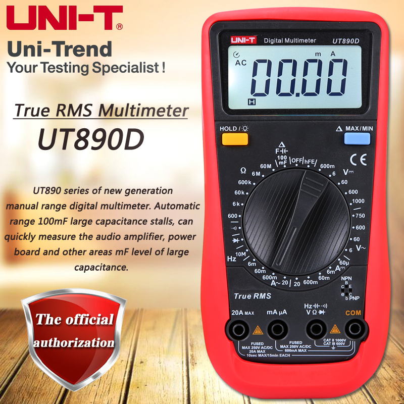 UNI-T UT890D True RMS Multimeter Resistance / Capacitance / Frequency Tester Diode Test LCD Backlight