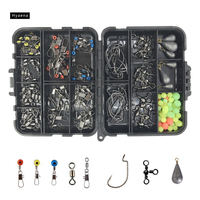 Hyaena 160pcs Box Fishing Accessories Kit Including Jig Hooks Fishing Sinker Weights Fishing Swivels Snaps With