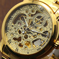 Fashion WINNER Cool Men Automatic Mechanical Golden Stainless Steel Wrist Watch Q52