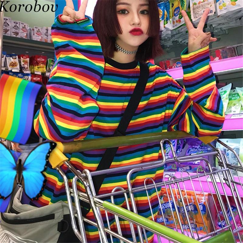 Korobov 2019 Rainbow Striped Hoodies Long Sleeve Harakuju Hoodie Female Sweatshirt Loose Women Pullover Tops 76204