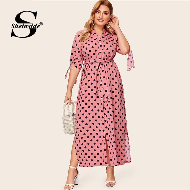 Sheinside Plus Size Black Polka Dot Print V Neck Straight Dress Women Cuff Knot Maxi Dresses 2019 Spring High Waist Belted Dress 2