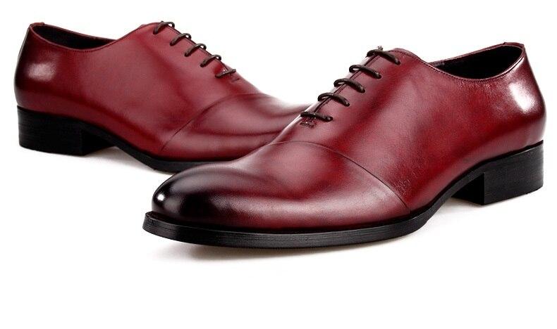 Mode noir/marron Tan Oxfords hommes chaussures de mariage en cuir véritable bout pointu chaussures habillées hommes Busines chaussures
