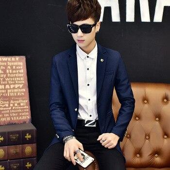 2019 Long Fashion Stripes New Casual Mens Muits Men Blazers Sleeves Black Blue Regular Suits Blazer