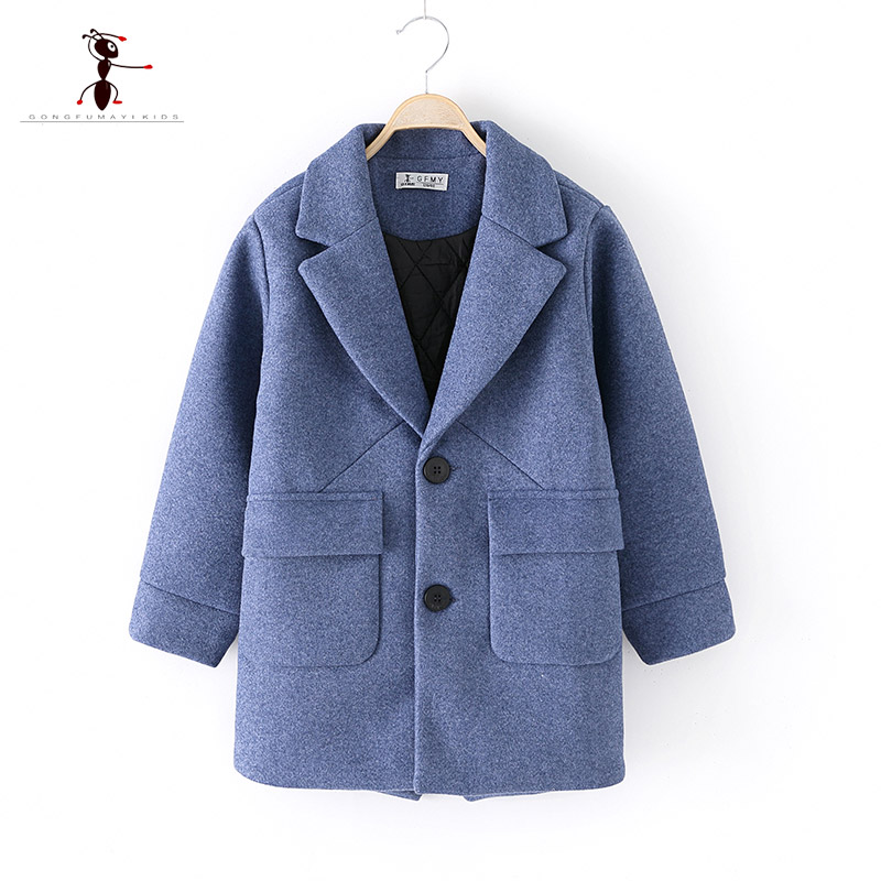 2018 Original Brand Autumn winter Big Pocket Wool Boys Coat Lapel collar Single-breasted Children's Gentleman's Coat 9125