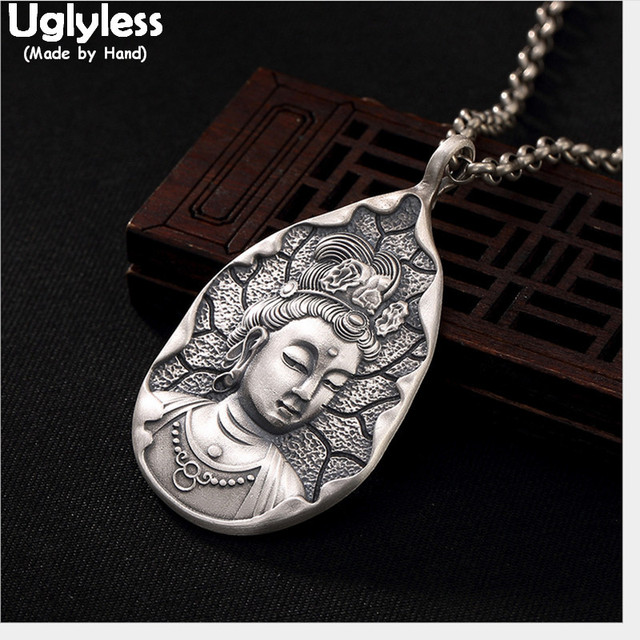 Uglyless אמיתי 999 כסף טהור בעבודת יד הבודהיסטווה תליוני שרשראות לא שרשרות בודהיזם תאילנדי כסף בודהה תליון טיפת מים