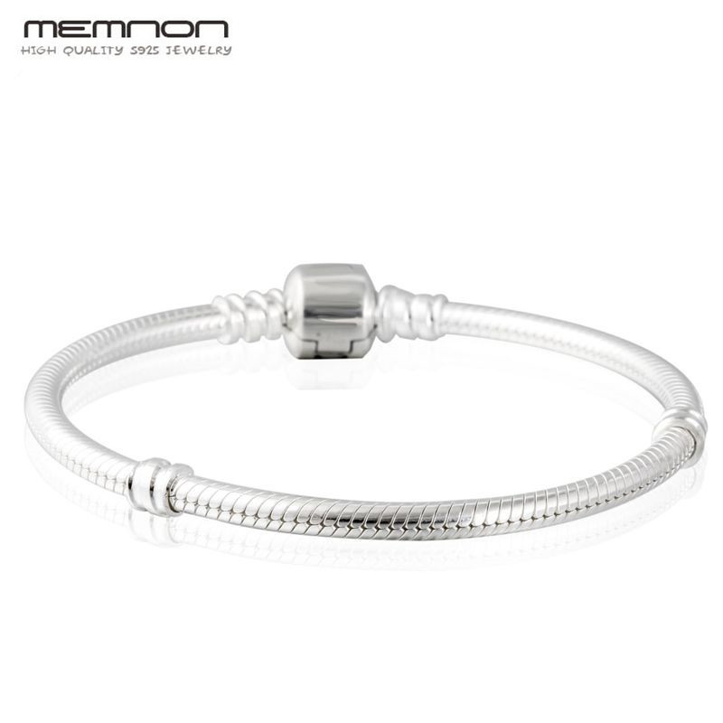 Memnon 925 Sterling Silver Snake Chain European charms Bracelets with Clasp For women DIY fit Charms bead fine jewelry YL001 925 sterling silver snake chain basic bracelets charms heart clip blue pink purple crystal clasp fit women diy bracelets