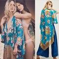 Mulheres Franjas de Ouro Aberta Ponto Floral Chiffon Kimono Cardigans 2017 New Arrivals