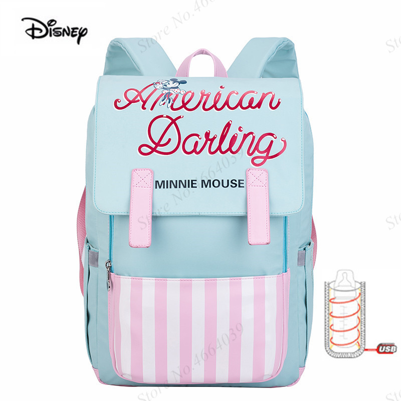 Disney Original USB Diaper Bags For Stroller Large Capacity Baby Care Backpack for Mommy Bag Baby Nappy Bags For Pregnant Women