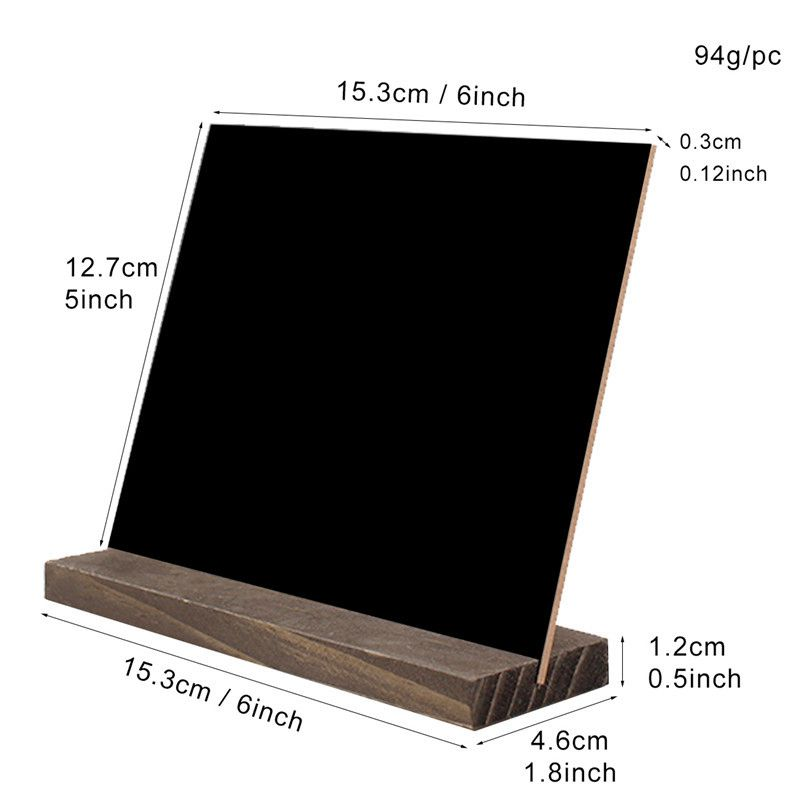 15.3x12.7x4.6cm Mini Tabletop Chalkboard Signs with Rustic Style Wood Base Stands, Set of 4,Include 3x chalks
