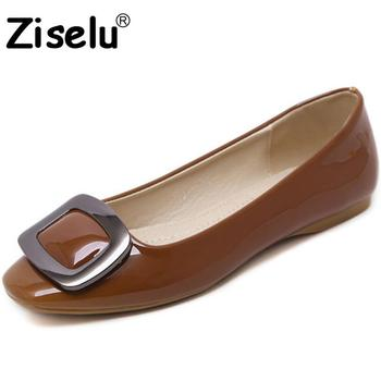 Ziselu 2017 new round toe buckle women flats spring autumn pu leather slip on shallow flats.jpg 350x350