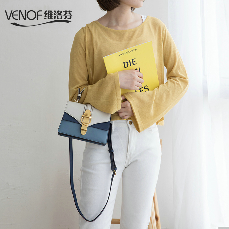 VENOF luxury handbags women bags designer retro contrast color flap bag split leather ladies small shoulder crossbody bags 2018 stripe contrast split pants