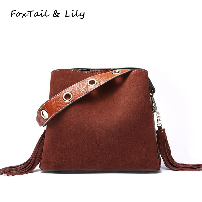 FoxTail & Lily Frosted Cow Leather Small Shoulder Bag Women Genuine Leather Handbags Fashion Tassel Design Ladies Crossbody Bags women shoulder bags leather handbags shell crossbody bag brand design small single messenger bolsa tote sweet fashion style
