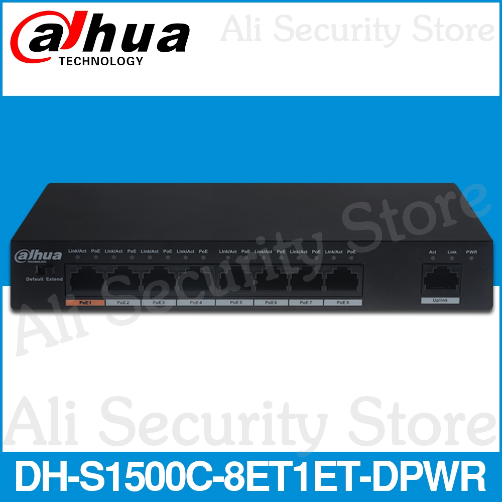 Dahua DH-S1500C-8ET1ET-DPWR PoE Switch 8CH Ethernet Power Switch Support 802.3af 802.3at POE POE+ Hi-PoE Power Standard