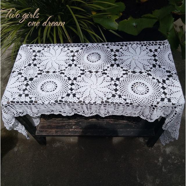 High Quality Rectangle Handmade Crochet Table Runner Home Wedding