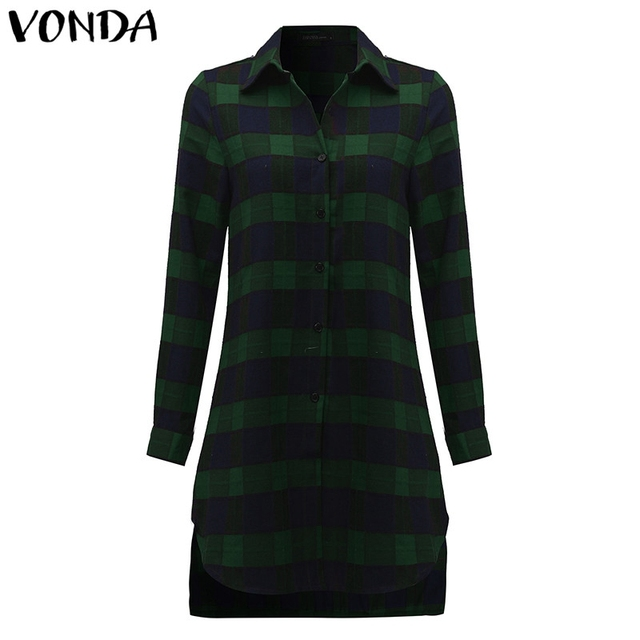 VONDA Pregnant Women Plaid Blouse Shirts 2018 Spring Fall Vintage Lapel Long Sleeve Pregnancy Tops Plus Size Maternity Clothings 4