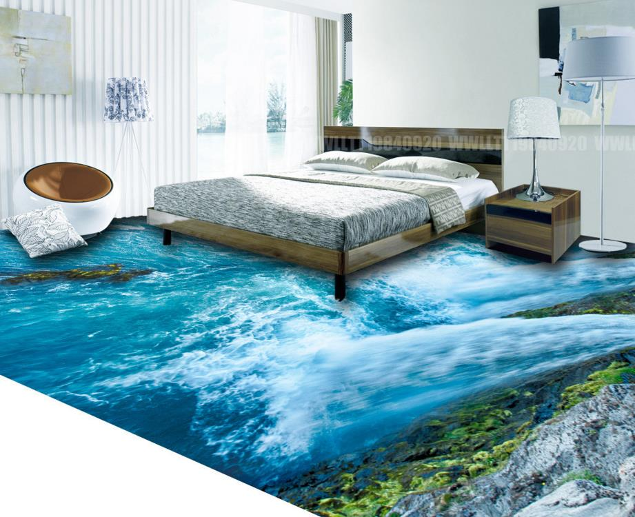 Customize 3D Ocean Floor Murals Ocean Bathroom Kitchen Adhesive Vinyl Rolls 3D Flooring Photo Wallpaper 3D Mural 3d floor mural photo wallpaper customize wallpapers for living room floor 3d self adhesive wallpaper dolphin vinyl flooring