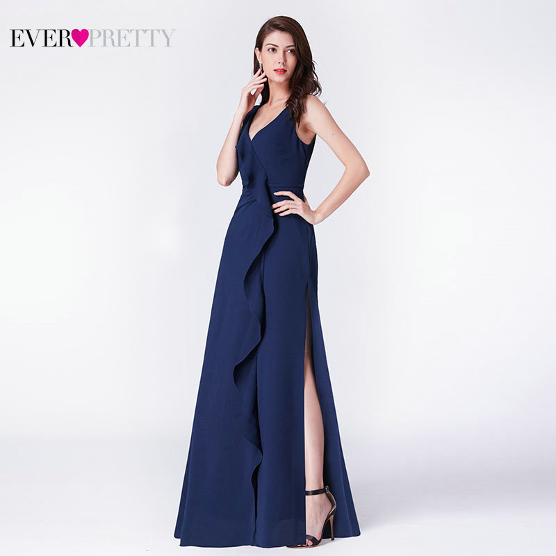Robe De Soiree New A Line V Neck Long Formal   Evening     Dress   Ever Pretty EP07372NB Chiffon Ruffles Wedding Party Gowns With Slit