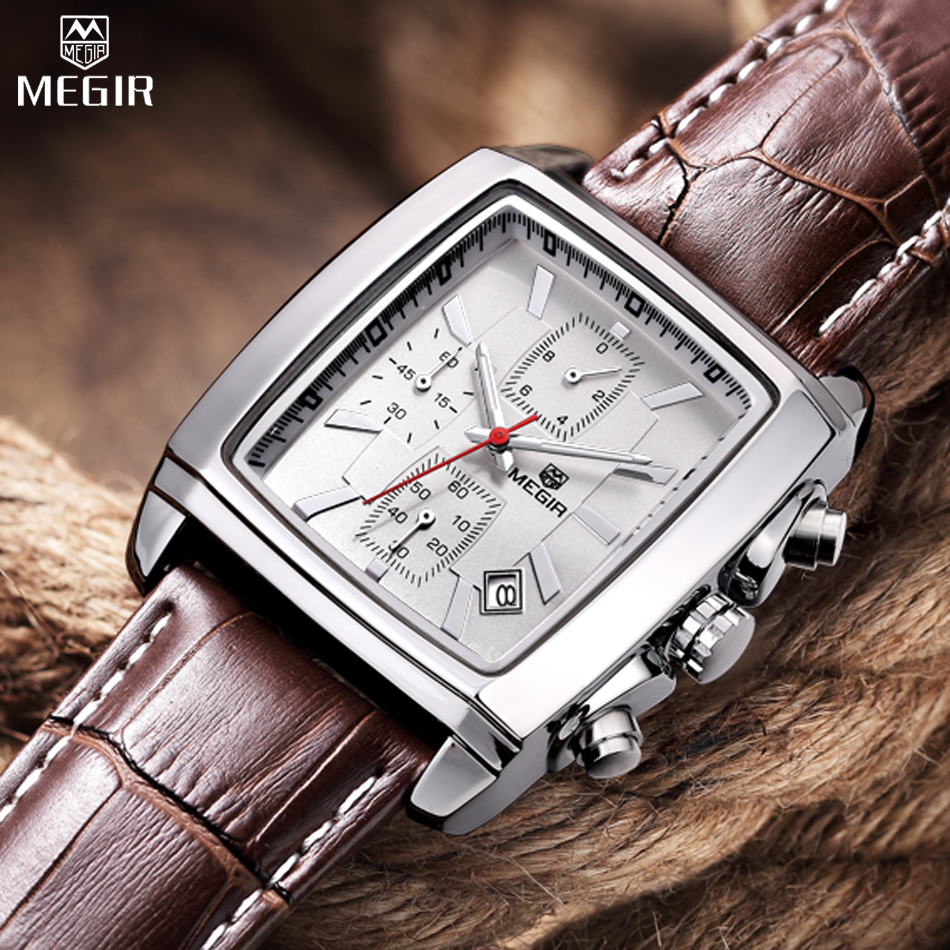 MEGIR Brand Men Chronograph 30M Life Waterproof Multifunction Real Leather Military Quartz Delicate Watches Relogio Masculino