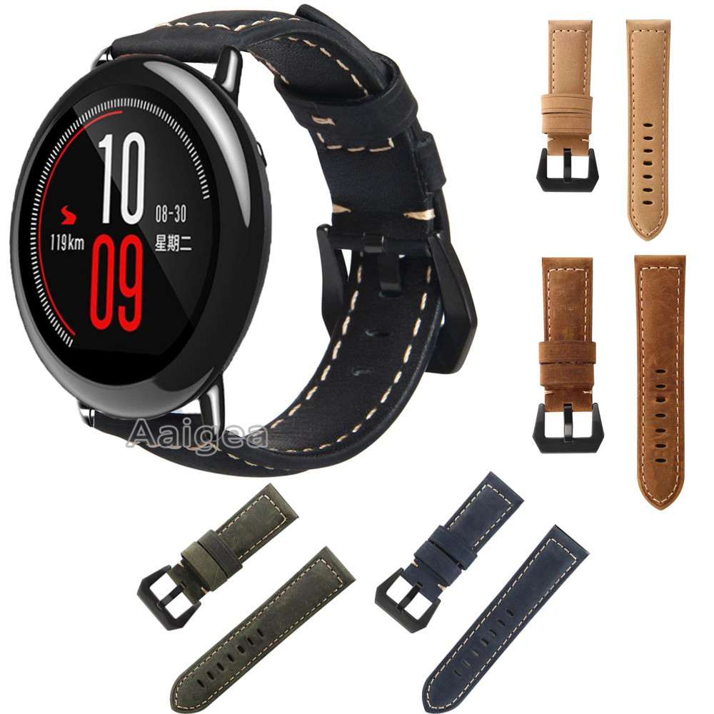 Classic Genuine Leather Watch Band Strap for Xiaomi Huami Amazfit PACE Crazy Horse Replacement Buckle Soft Wristband 22mm straps sikai 22mm soft silicone watch band with protective case for huami amazfit pace bracelet case smartwatch band wristband straps