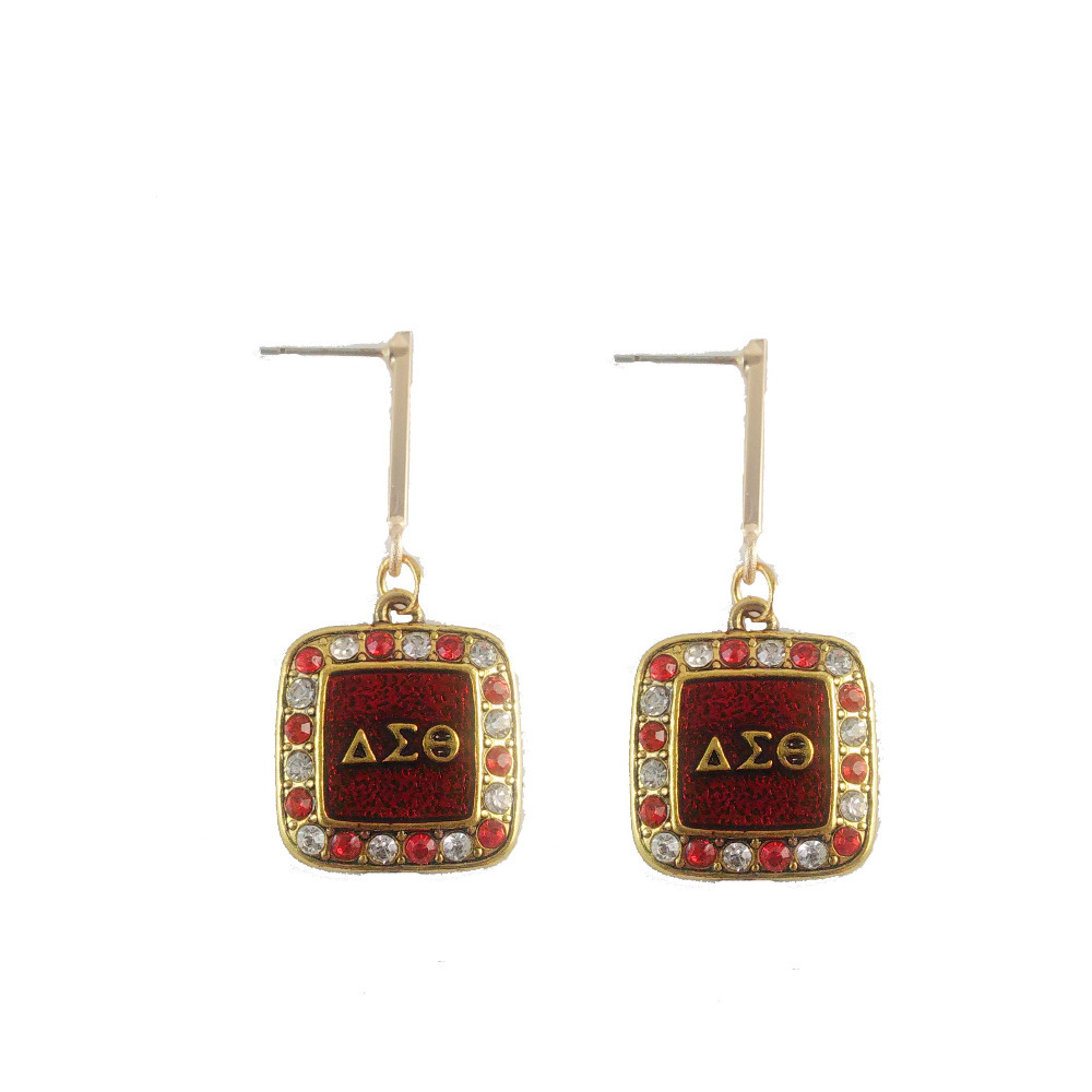 Delta Sigma Theta Earrings: Newest Square DST Charm Earring Delta Sigma Theta Sorority