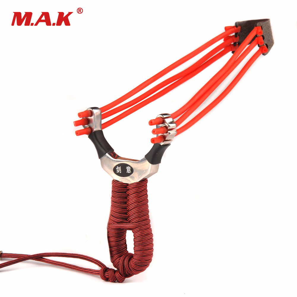 Powerful Three Slots Stainless Steel Slingshot with 3 Wrist Rubber Bands  for Outdoor Archery Shooting 1pc slingshot stainless steel wrist length 11 6cm with 3 rubber bands for hunting shooting accessories archery catapult