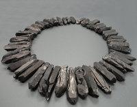 34pcs Strand Raw Crystals Long Points Gun Black Rough Quartz Top Drilled Crystal Graduated Stick Beads