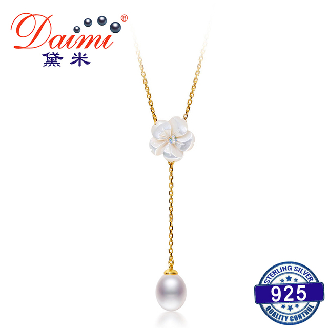 DAIMI Romantic Peach Blossom S925 Sliver Necklace Pendant About 7mm Water Drop F