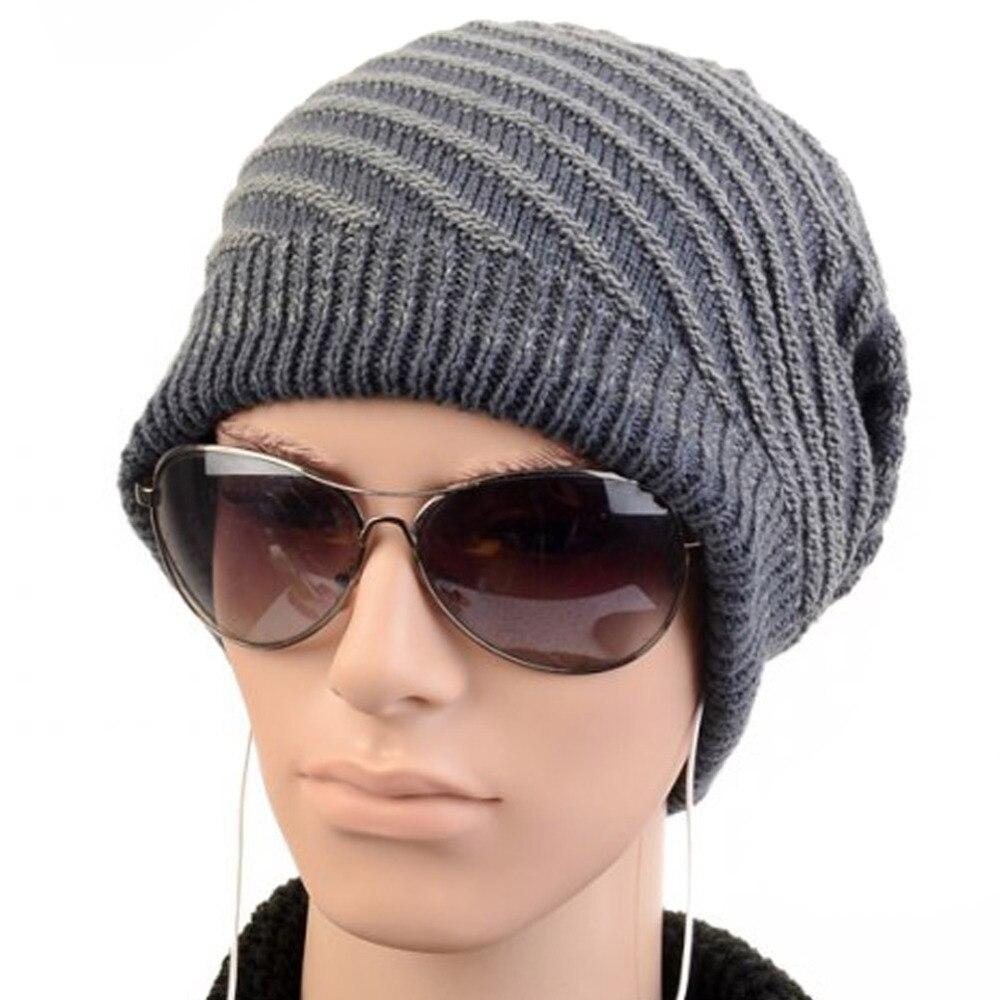 Men Women Unisex Girl Twill Striped Stripes Pattern Slouchy Knit Beret  Beanie Crochet Rib Hat Cap Warm 7d16483714a