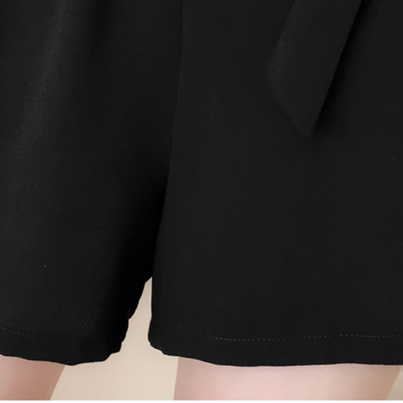2019 Women Rompers Summer Loose V neck Chiffon Female High Waist Korean Short Black Casual Femme Half Sleeve Rompers Belt New in Rompers from Women 39 s Clothing