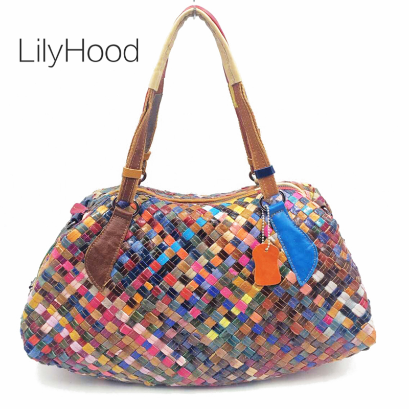 LilyHood Sheepskin Hobo Bag for Women Genuine Leather Woven Bohemian Boho Chic Top Handle Totes Satchel Shoulder Bag цена