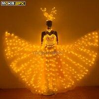 Frauen led beleuchtung kostüm dame beleuchtet kleid bunte lichter tanzen anzüge leucht headwear frauen ballroom dance kleid-in Bühnen-Lichteffekt aus Licht & Beleuchtung bei