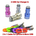 BrankBass Car-charger 2A / 1A 2 USB Car Charger With 2in1 Cable For Micro USB And For Iphone 5 5SFor Samsung Galaxy S4 S5 S6