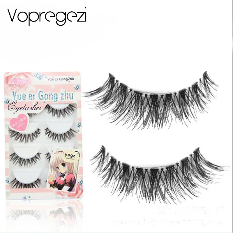 Vopregezi 5pair Crisscross False Eyelashes Wimper Eyelash Extensions Fake Lashes Voluminous Long Faux Cils for Eye Lashes Makeup