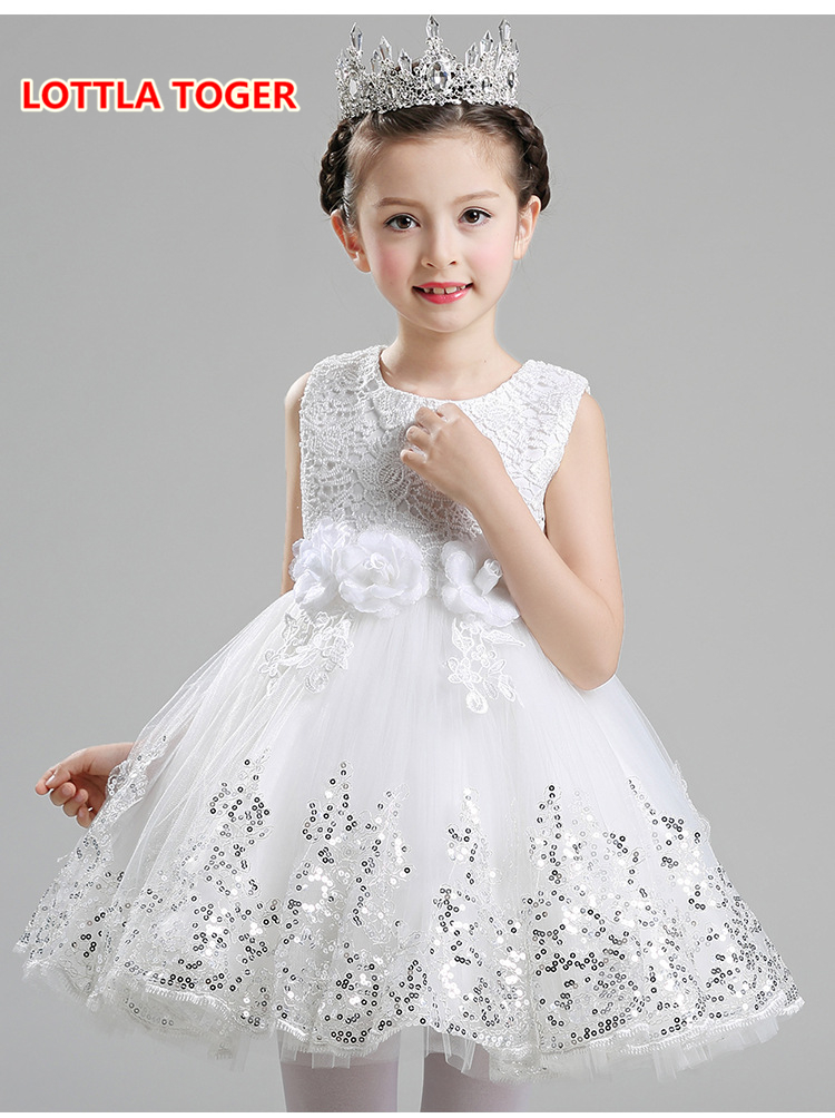 3 color Kids Girls Wedding Princess Dress Page 1 Formal Dress Crossed Sleeveless Lace Tulle Dress 2-14Y death page 3 page 2