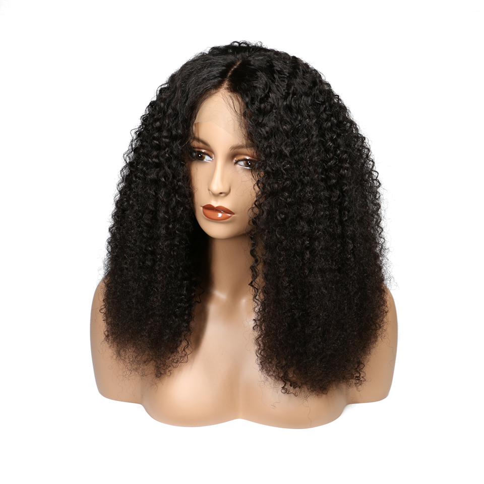 Lace Front Human Hair Wigs For Women Natural Black 180 Density Brazilian Remy Hair Afro Kinky