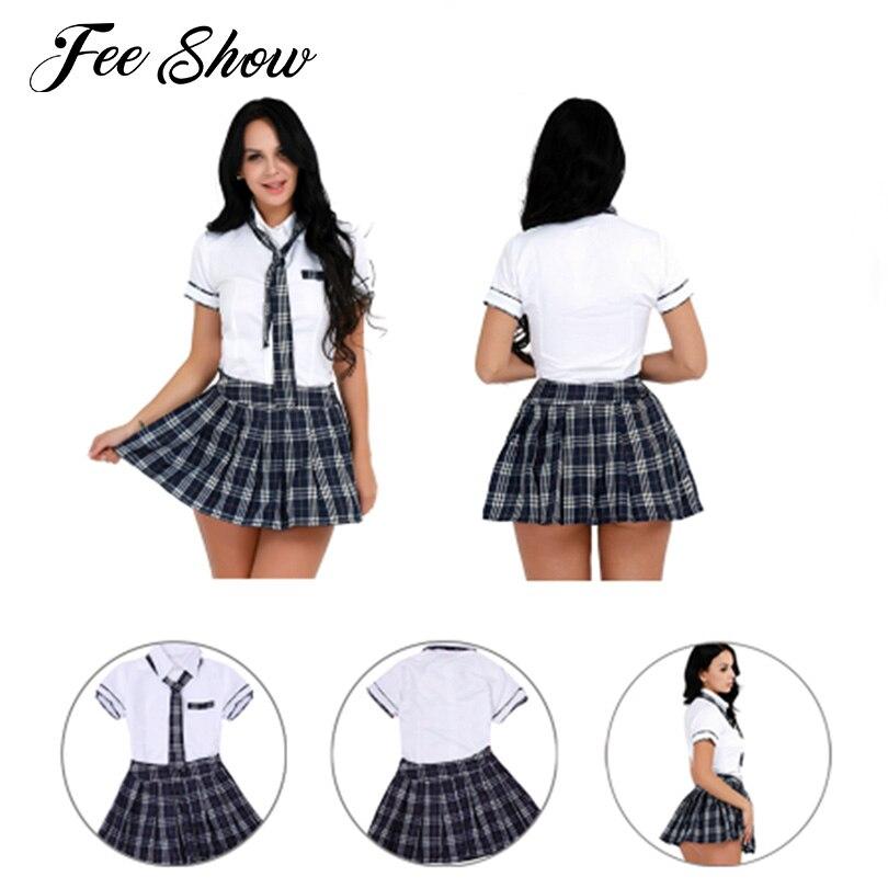 Women Girls Cheerleader Sexy Cosplay School Girl Costume Sexy Halloween Costume School Uniforms Short Sleeves Shirt With Skirt