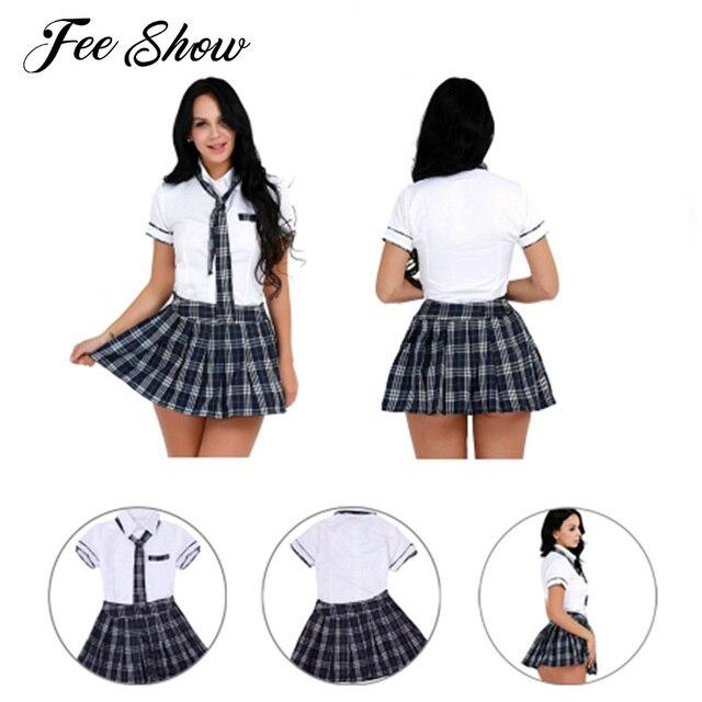 d602aa878554c5 € 9.66 37% de réduction|Femmes filles pom pom Girl Sexy Cosplay école fille  Costume Sexy Halloween Costume uniformes scolaires manches courtes ...
