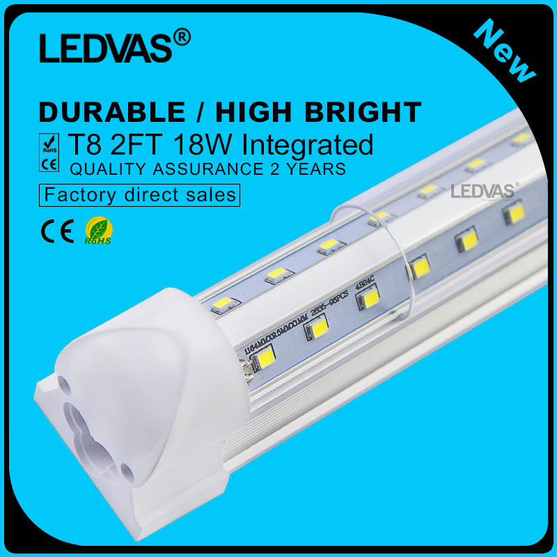 LEDVAS 2-Pack 18W 2Ft V Shaped Integrated T8 LEDs