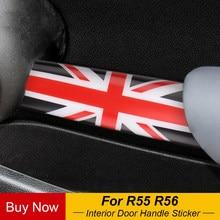 2 adet araba iç kapı kolu topuzu Trim ABS muhafazası kapak kabuk Sticker çıkartma MINI Cooper için R55 R56 araba Styling aksesuarları
