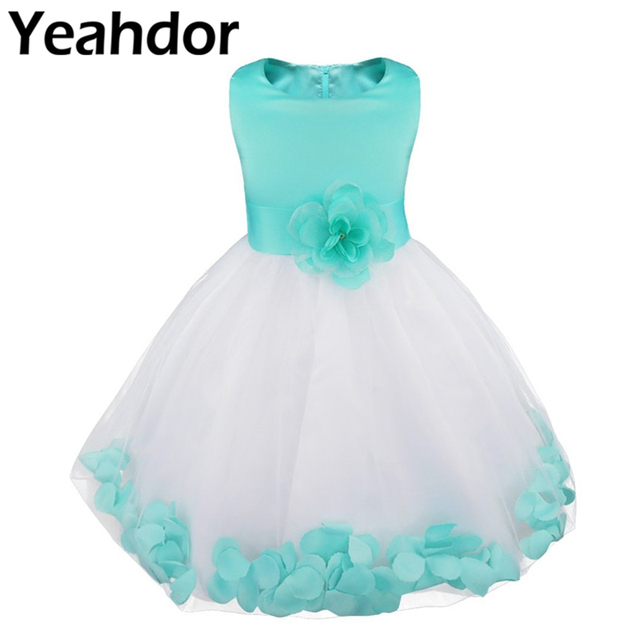 Flower Girls Dress Flower Petals Tulle Bow Sleeveless Formal Dresses for Wedding Pageant Birthday Party Formal Special Occasions
