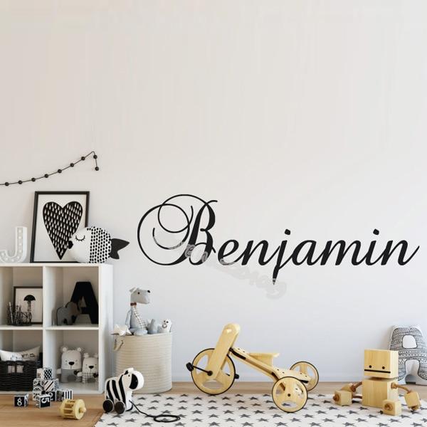 Personalizado nome personalizado adesivos de parede do berçário nome sinal meninos meninas crianças quarto decalques cor ouro artístico fonte mural eb523