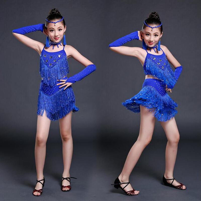 f57618f2 US $18.25 13% OFF|Zielone dziewczyny cekinami buty do tańca latin sukienka  do tańca dzieci frędzle nowoczesny etap nosić Party stroje Salsa ...