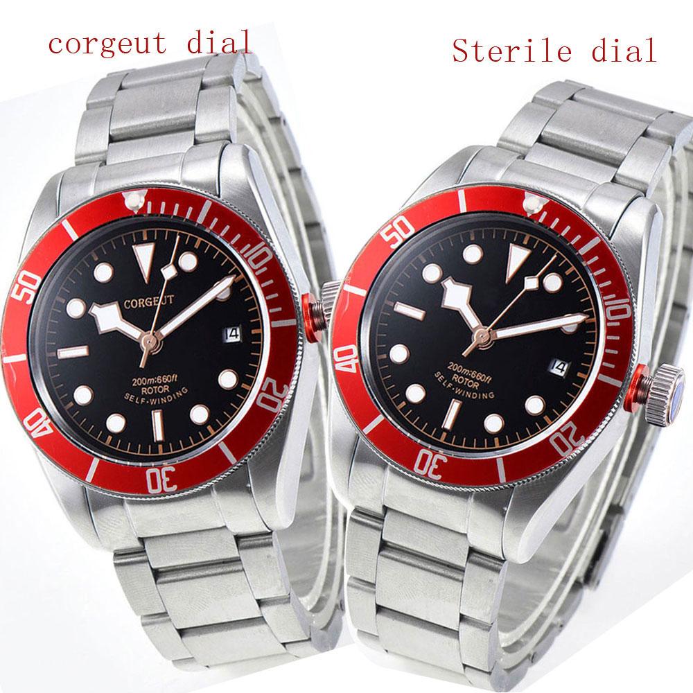 цена на 41mm corgeut black dial red bezel Sapphire 12 jewels miyota automatic men Watch