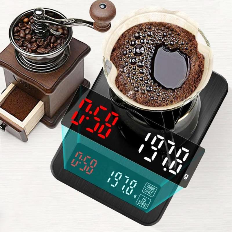3/10/5KG Digital LCD Weighing Scale Coffee Kitchen Food Electronic Scale Timing Kitchen Measuring Scales