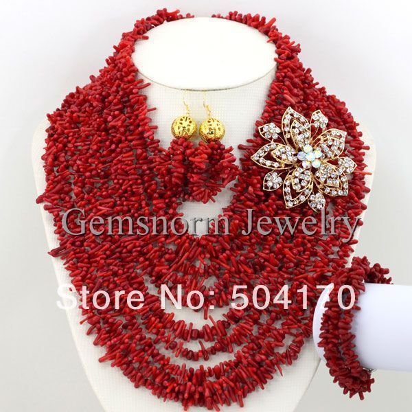 Amazing NEW African Coral Beads Bridal Jewelry Set Nigerian Beads for Wedding Free Shipping CNR157