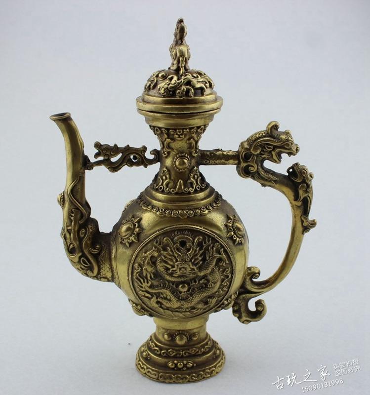 Chine vieux Dragon en bronze motif pot Flagon